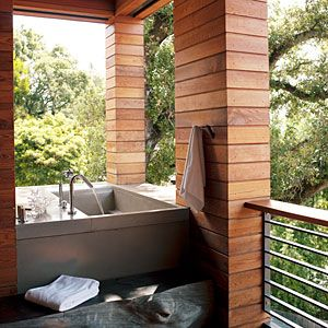 Sustainable treetop home | The great outdoors | Sunset.com outdoor bath off the master suite