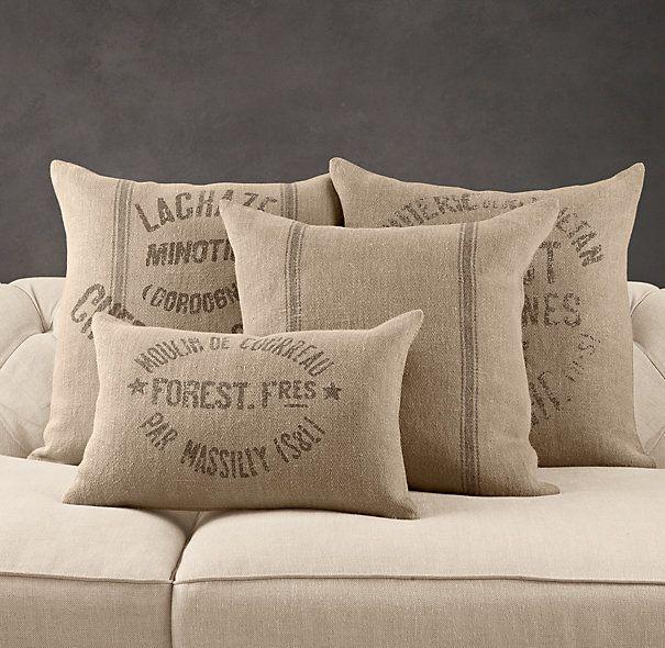 Burlap grain sack pillows. great idea for all my burlap sacks