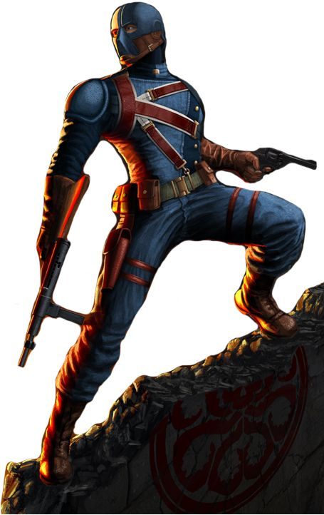 James Montgomery Falsworth was a member of an elite special unit of Allied soldiers formed in World War II known as the Howling Commandos.  After the disappearance of Captain America, James was inspired to become the hero known as Union Jack and became a member of the Liberty Legion. Union Jack by Matthew Harris