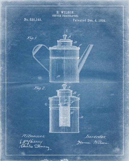 This is a print of an 1894 coffee percolator patent, presented as a vintage industrial or steampunk style drawing. Authentic historical patent prints celebrate industrial design and invention as art,
