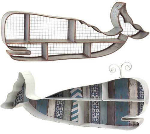 Whale wall shelves: http://www.completely-coastal.com/2016/06/coastal-nautical-shelves-lighthouse-shelf-boats-whales.html Decorative storage and display ideas for sea lovers.