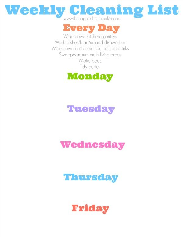 Daily Cleaning Schedule - The Happier Homemaker