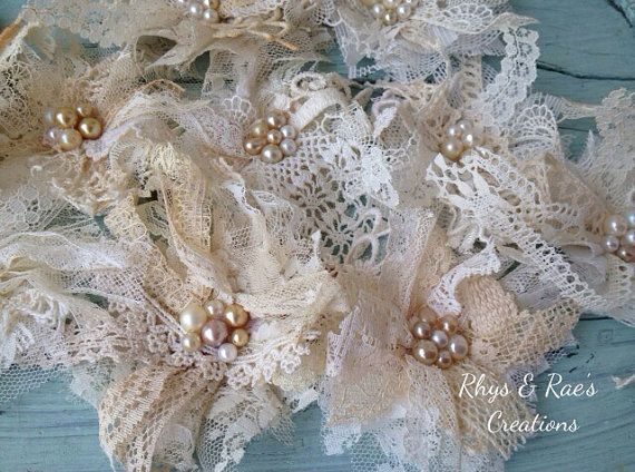 Vintage Lace Fabric Flowers, Handmade Lace Appliqués, Lace Embellishments, Set of 12, Bulk, Lot, Wholesale Flowers, Decorations, Bridal