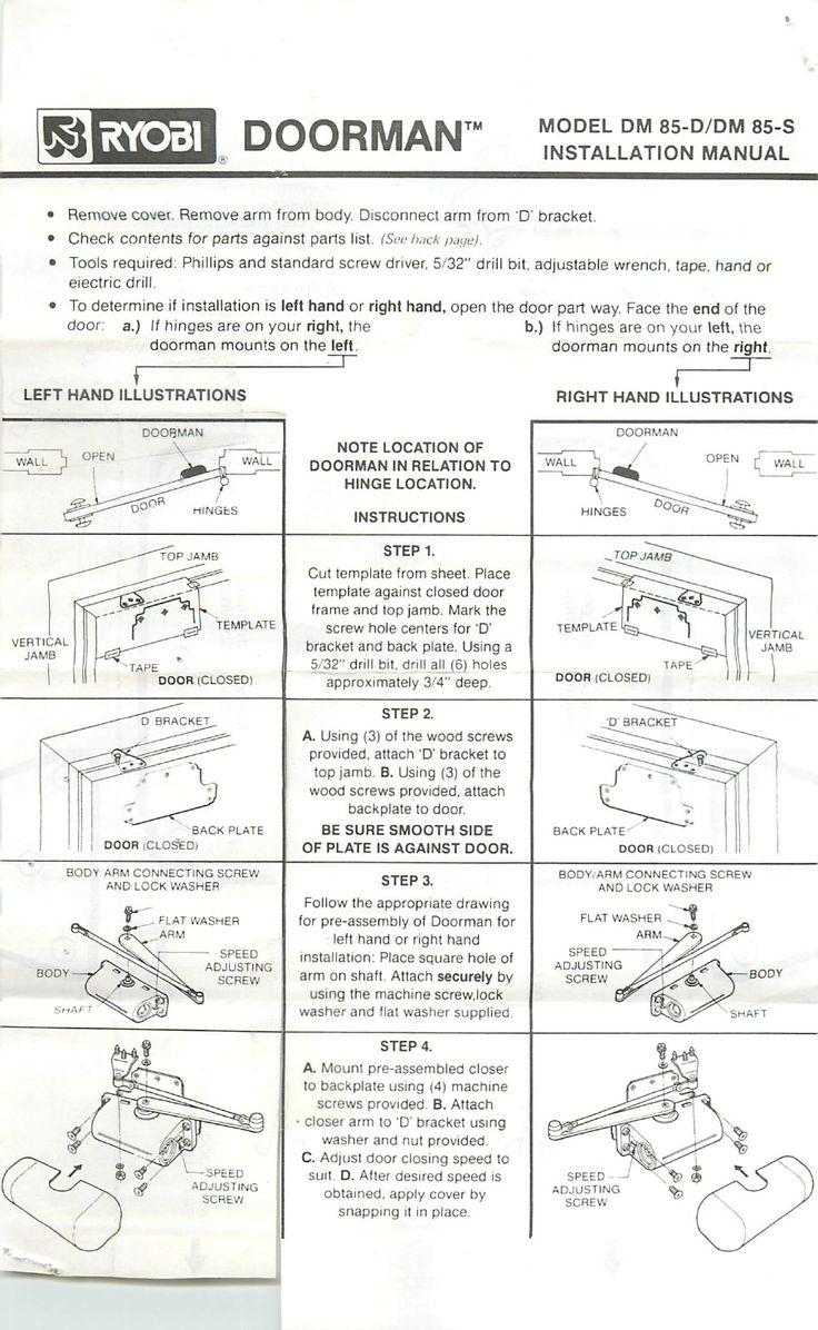 Ryobi Doorman Instructions U0026 Ryobi Doorman Installation Manual Guide