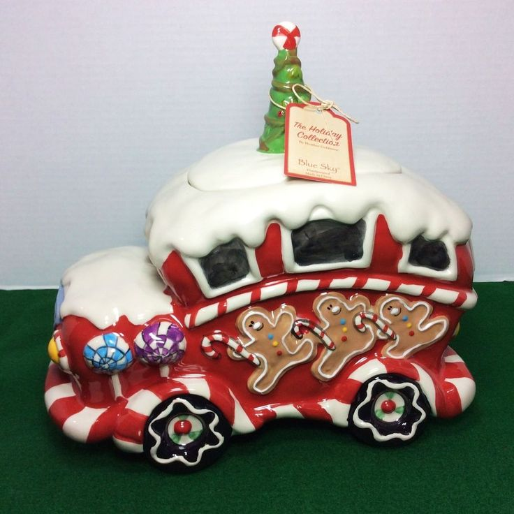 "NEW Blue Sky Christmas "" Dancing Gingerbread Bakery "" Delivery Truck Cookie Jar1"