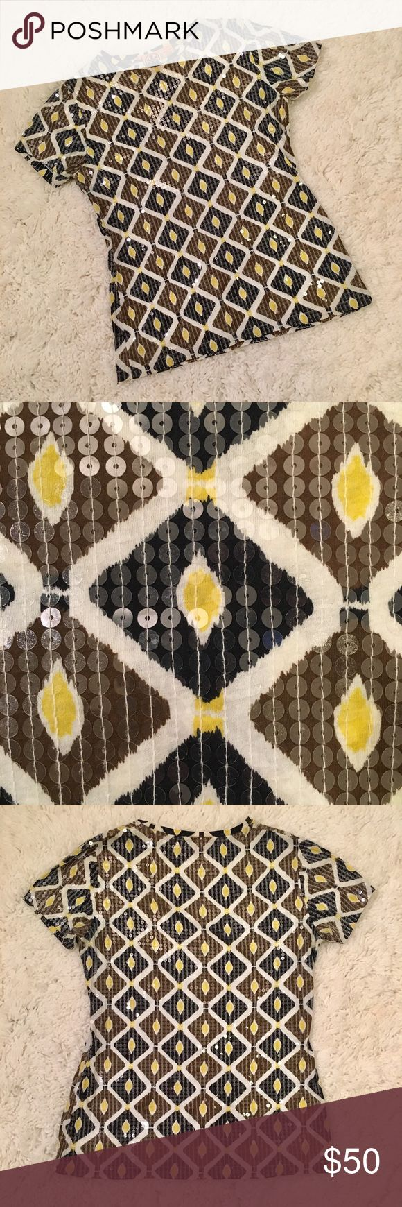 Tory Burch Sequin Patterned Short Sleeve Top Tory Burch short sleeve top. Size S. Beautiful sequin detailing. Neutral color palette of brown, cream, black  & yellow. Diamond pattern with delicate white stitching. Excellent condition - no flaws! Tory Burch Tops Tees - Short Sleeve