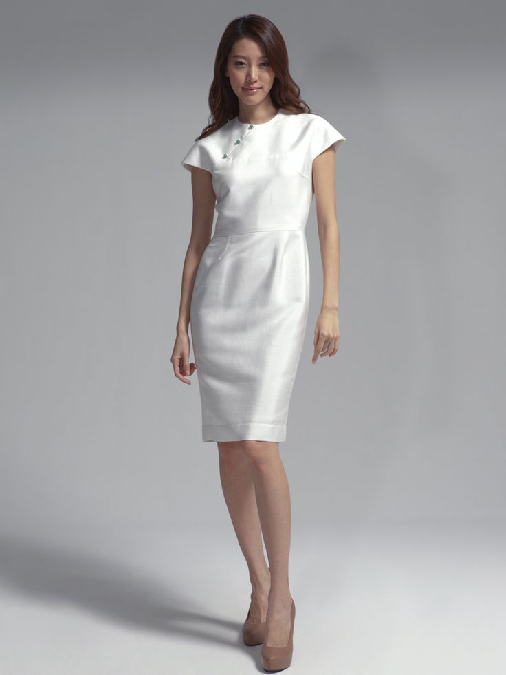 Silk cotton twill dress with jade buttons