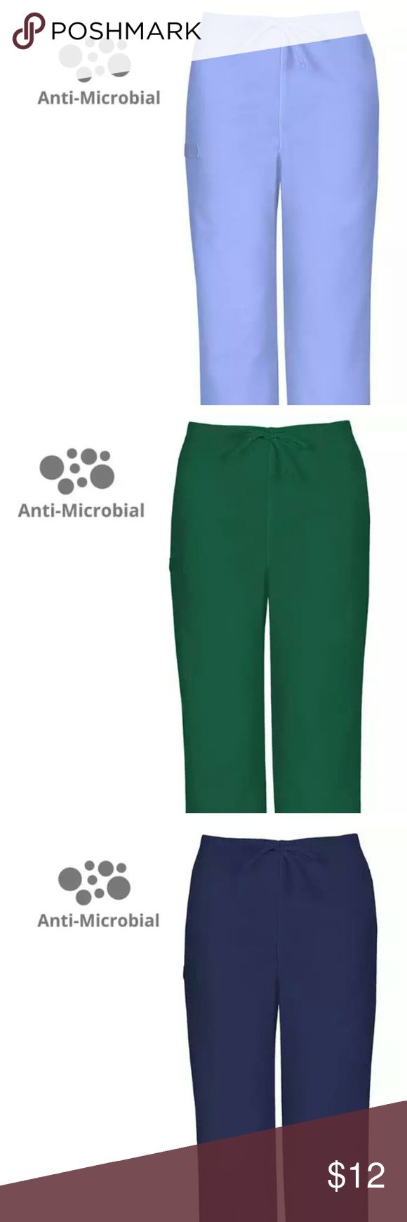 Antimicrobial Scrub Bottoms-Blue, Green, Ciel Blue Cherokee Antimicrobial Workwear Flex Scrub Bottoms Style# 34100A  (1) Medium- Dark Blue (1) Medium- Hunter Green (1) Medium- Ceil Blue  -Antimicrobial Protection Barrier -Two Slash Pockets with Instrument Loop on back -Adjustable Drawstring -65% Polyester/35% Cotton  *Pictures represent style and actual colors of garment*  -New with tags! -Never been worn! -No damage, rips, stains! -Only ONE of each! -No trades/trading or offline…