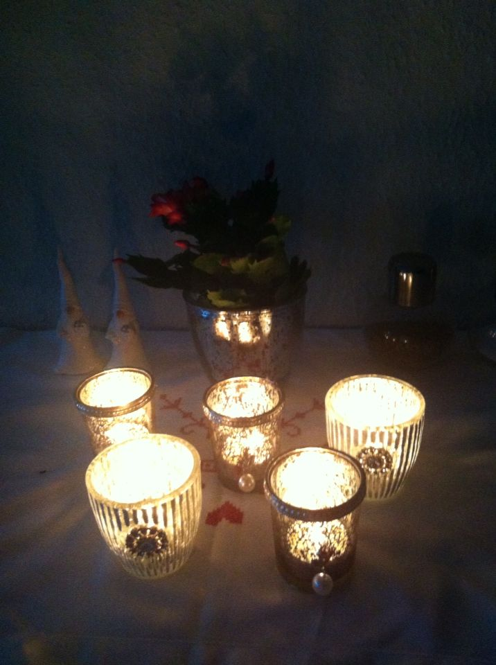 Christmas is in the house! Love candles in the dark :)