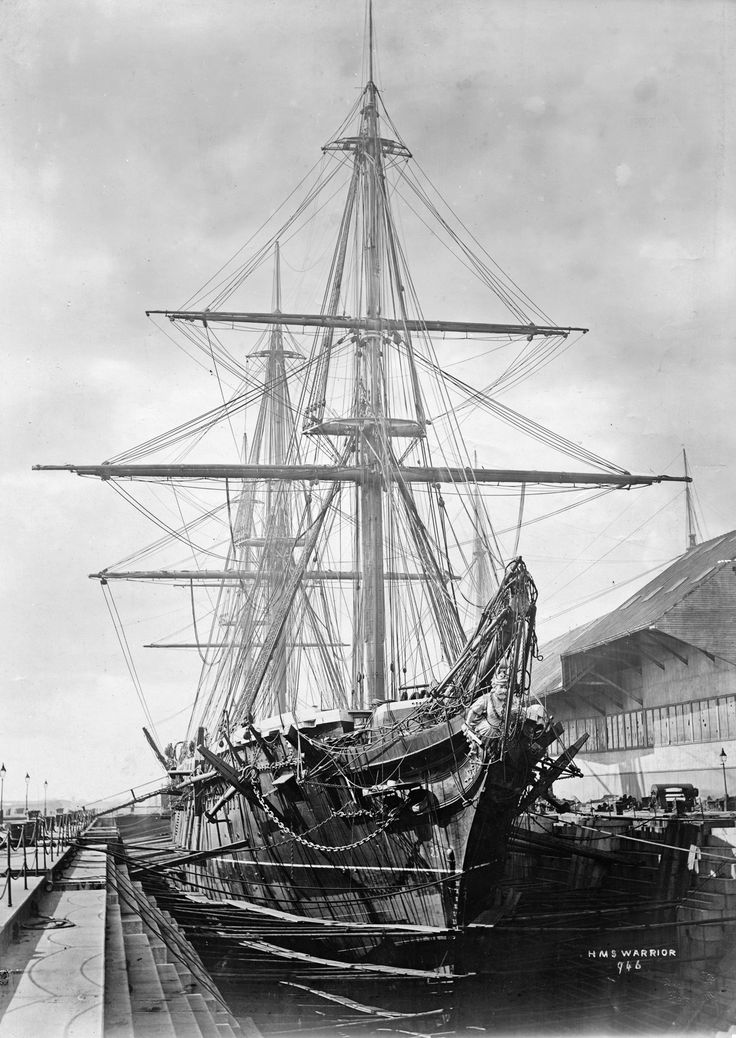 HMS WARRIOR at Portsmouth's No.10 dry dock undergoing a major refit. 1872-1875