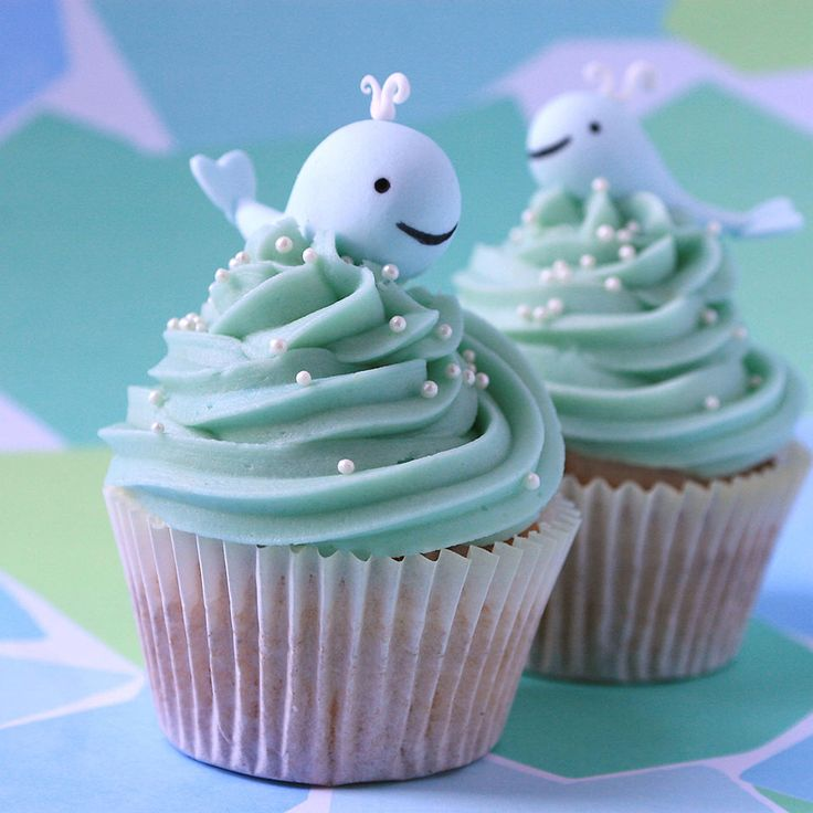 Wildflower Cakes London  Cute little whale cupcakes for children's parties
