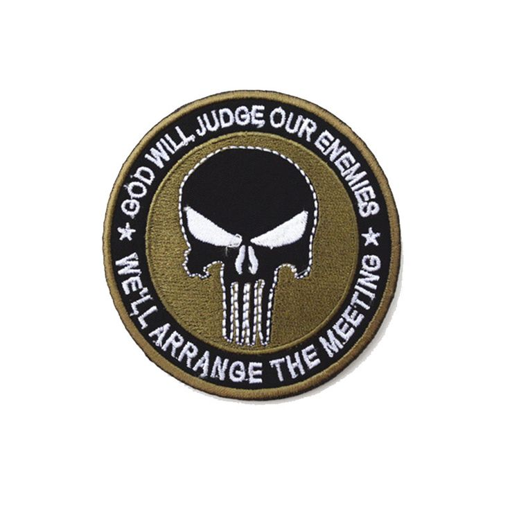 Fashion Punisher Skulls Rectangle Double Side Embroidery Trim Patch USA Army Morale Armbands Shoulder Badge Punisher Patch