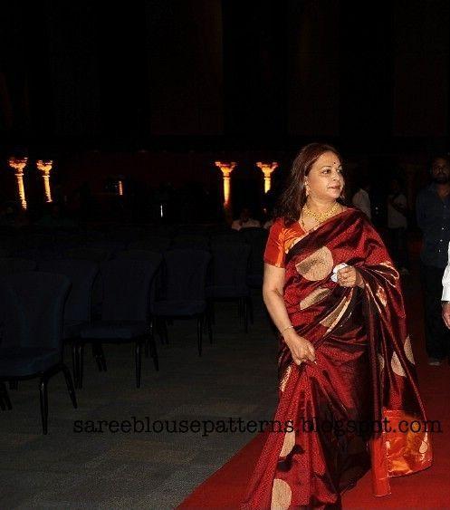 Vijaya Nirmala In Red Silk Traditional Saree | Saree Blouse Patterns