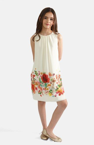 BLUSH by Us Angels Border Print Trapeze Dress (Big Girls) available at #Nordstrom
