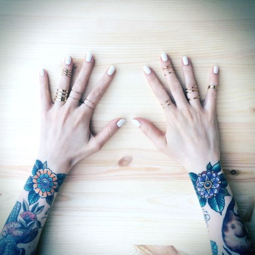 • girl jewelry fashion style vintage hands tattoos inked tattoo inked girl nail polish nails nail art ink tattooed girl jewellery bird tattoo rings Beautiful girls flower tattoo beautiful girl inked girls tattooed girls girl with tattoos bird tattoos inked babe Flower tattoos inked babes LisaRayski chipadillo chipadillo •