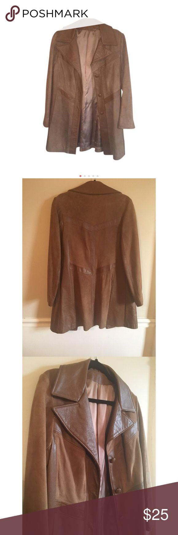 Vintage 70s style Brown Leather and Suede Coat Excellent Condition! 70s inspired leather and luxurious suede trench coat that commands attention.  This stylish and flattering trench coat is a stunner.  No label but Fits like a Size 10 new england sportswear company Jackets & Coats