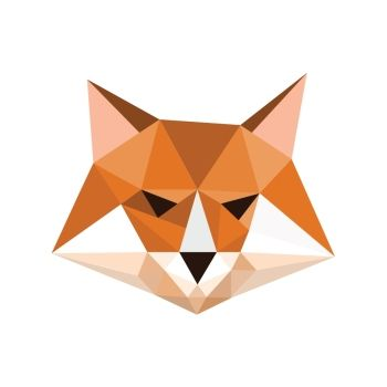 Illustration of origami fox portrait symbol
