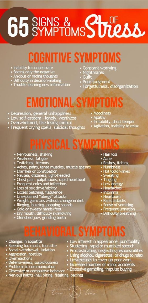 65 Common Signs & Symptoms of Stress - Cognitive, Emotional, Physical, and Behavioral http://www.ticoandtina.com/65-common-symptoms-of-stress-6-natural-ways-to-manage-stress/