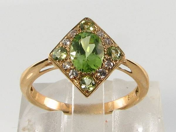 9K 9CT YELLOW GOLD PERIDOT & DIAMOND ART DECO INS RING FREE RESIZE