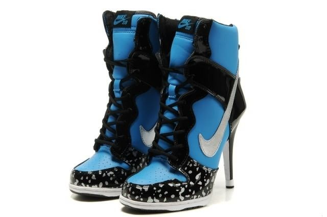 Nike Dunk Diamond Womens High Heels Blue Black