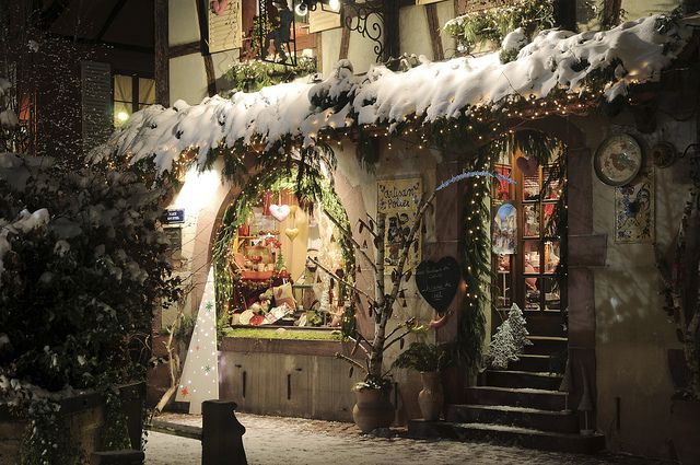 Lovely Store Front Christmas Decorations in Alsace, France