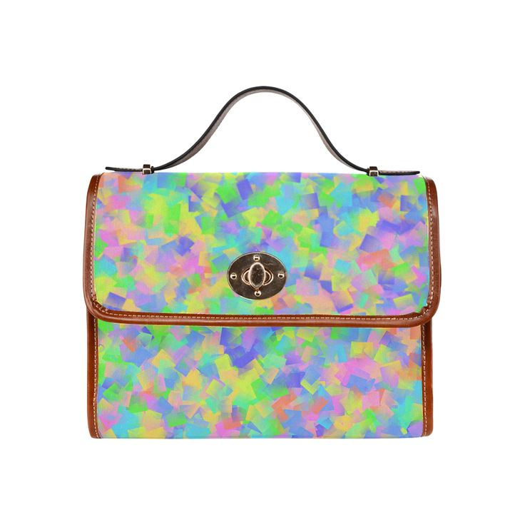 Colored Floating Squares 2 Waterproof Canvas Bag/All Over Print (Model 1641)