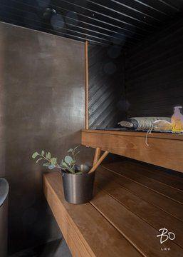 Betoni ja puu sulassa sovussa saunassa