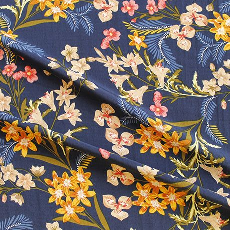 100% polyester crepe, lightweight and drapey fabric, 145cm wide. A romantic print with beautiful 'crinkle' texture | Sew Over It Online Fabric Shop