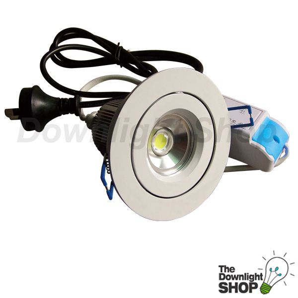 MR16 10W 5000K LED Downlight fitting, 700ma Dimmable LED Driver(Compatible with HPM Leading, HPM Trailing, Clipsal Universal and Clipsal Trailing Edge Dimmers), 1.2M Flexi Plug.