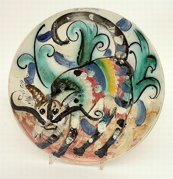 John Perceval and Arthur Merric Boyd Murrumbeena pottery circular earthenware plate painted with a cat (1952)