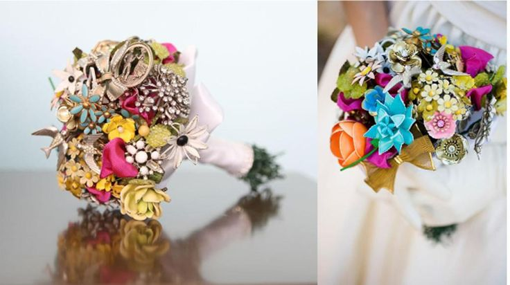 Bouquet made out of vintage broaches.