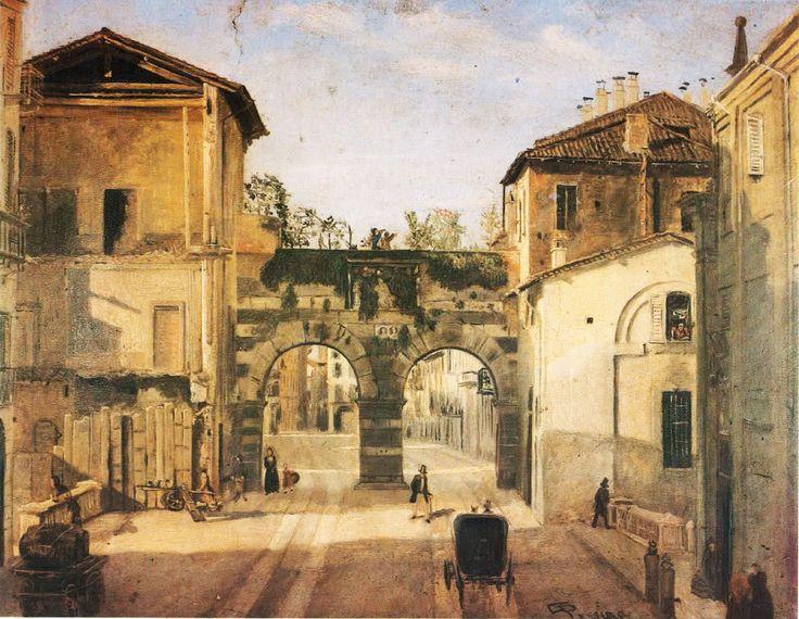 Gli archi di Porta Nuova dalla parte del Naviglio, di Giovanni Pessina, Milano, 1854.