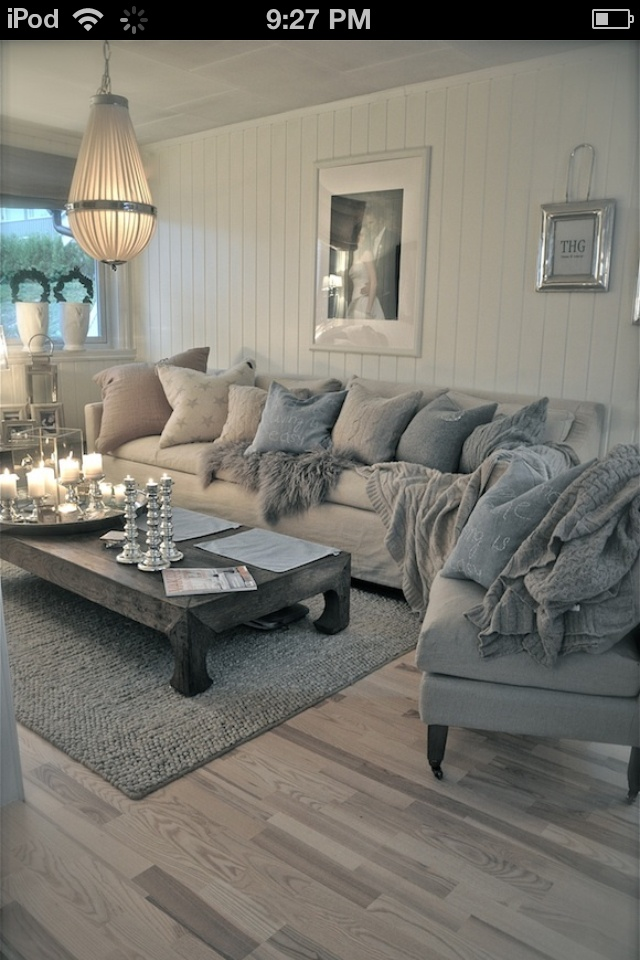I love the feeling of this living room! So inviting and so comfortable. I'm really loving the grey and white!