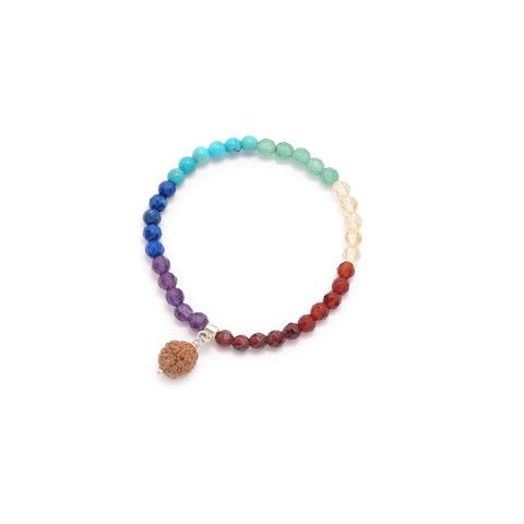 B6 - Seven chakra bracelet for baby with garnet, carnelian, citrine | Garnet, Carnelian, Citrine, Aventurine, Turquoise, Lapislazuli, Amethyst, Rudraksa on silver 925, 11.5cm (S), 12.5cm (M), 13.5cm (L),  3.7g |  Anna Michielan for Oishii Jewelry #garnet #carnelian #citrine #aventurine #turquoise #lapislazuli #crystalquartz #rudraksa #babyjoy #collection #annamichielan #oishii #healing #jewelry #forthesoul #natural #remedies #bracelet #baby #accessories #crystal #stone #gem #mineral #boho