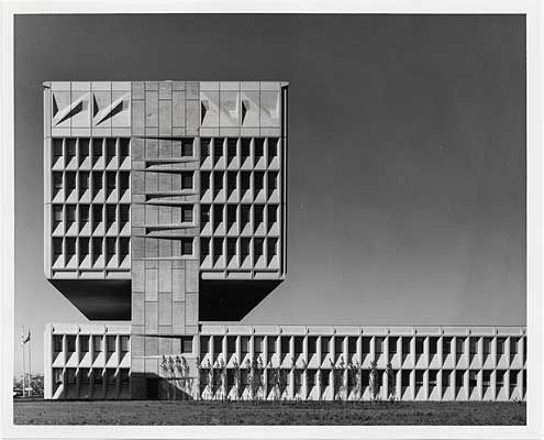 Architecture as the art of molding light and shadow. Marcel Breuer's Armstrong Rubber Company in West Haven, Connecticut.