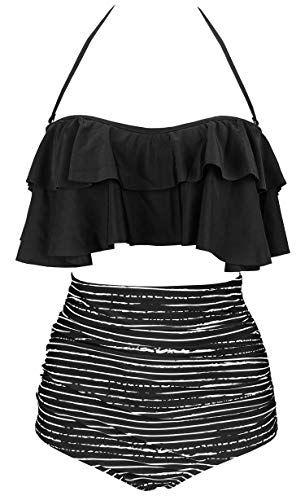 bc7b2a9e17 COCOSHIP Black Striped & White Balancing Act Retro Boho Flounce Falbala  High Waist Bikini Set Chic