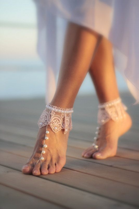 Dance of the pearls with blush frilly guipure beach wedding barefoot sandals, bangle, wedding anklet,nude shoes,boho sandal,cuff