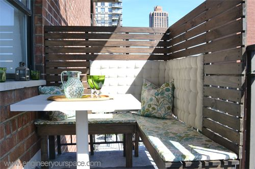 7 DIY Projects for Renters Apartments usually come with very small balconies and not a lot of privacy.  This privacy screen is easy to build and can attach and detach easily.