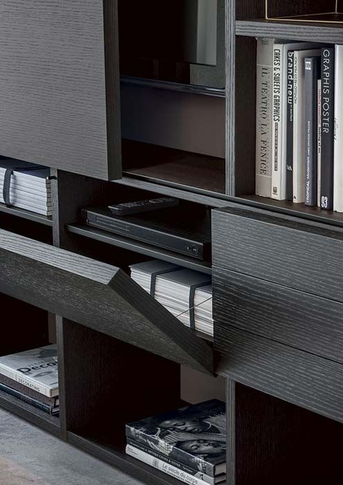 LEMA   SELECTA, Custom Made bookcase by Officinadesign Lema, is the first product that combine the details of manual work on wood to a series of technical innovations that confer it maximum versatility in terms of compositions, uses and finishes. Here is shown a composition with Carbone oak fronts with extra-thick doors of 4 cm instead of 2 cm.