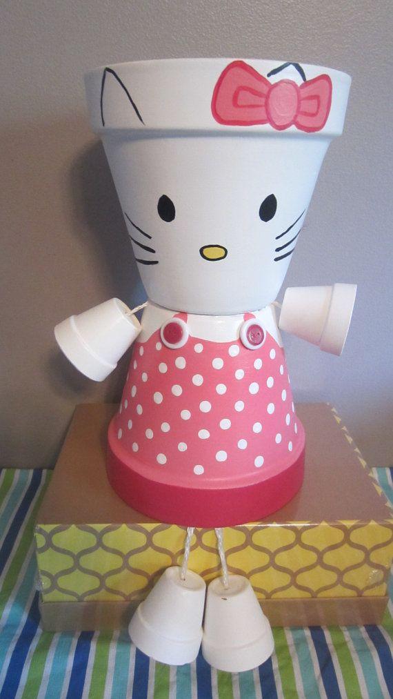10 Planter Pot Person  Pot People Hello Kitty by GARDENFRIENDSNJ, $54.99