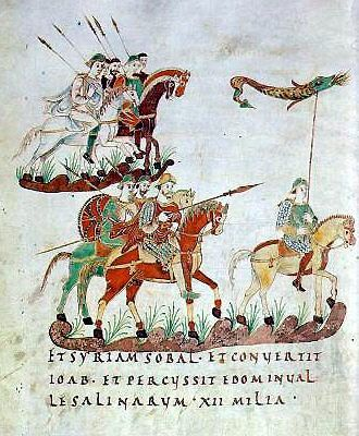 Carolingian cavalrymen from the 9th century with a draco standard