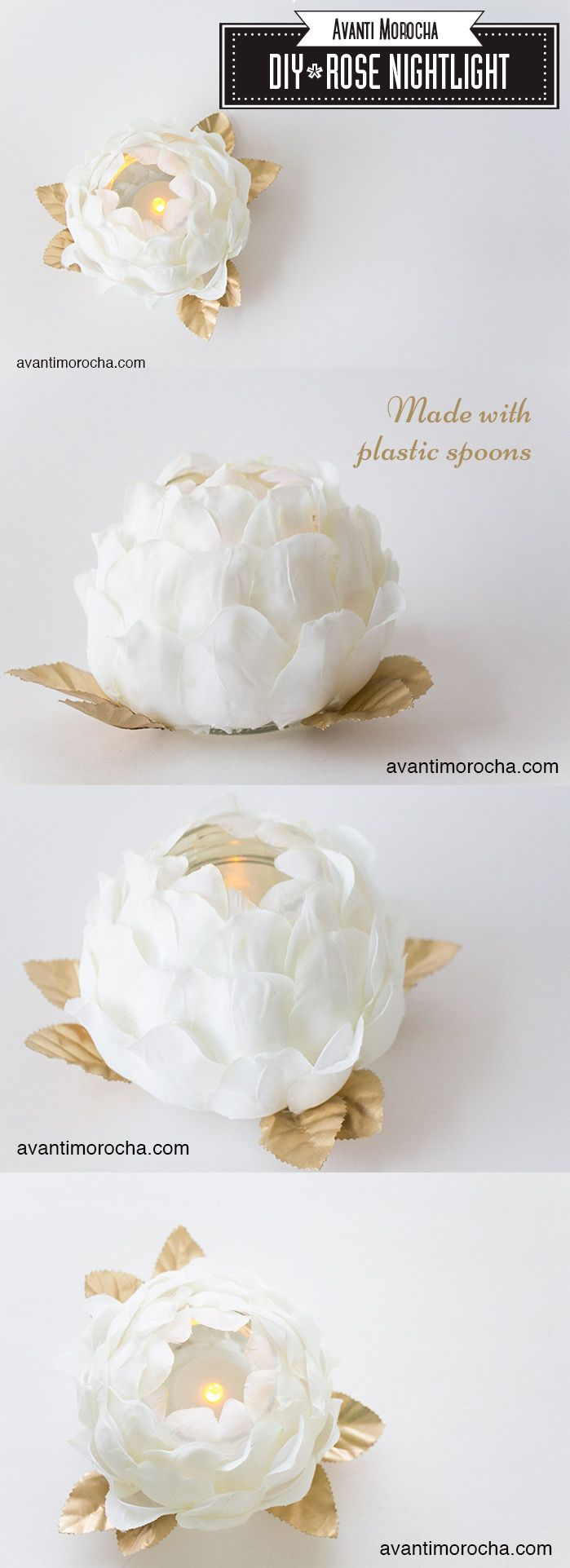 DIY Rose Nightlight - Mother's Day Gift idea - Great for Wedding tables / decoration - You won't believe it's made with plastic spoons.