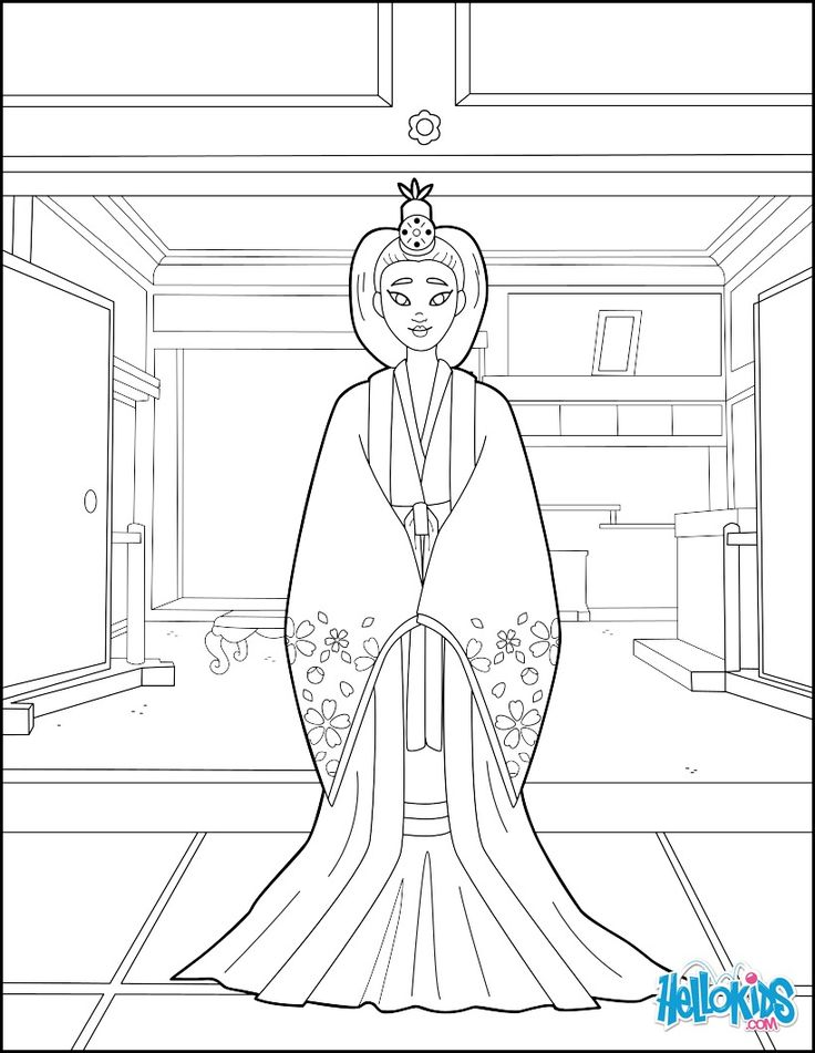 Beautiful coloring page of a Japanese Princess. More ...