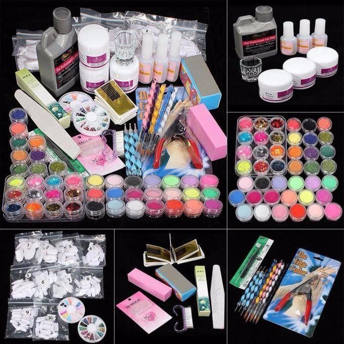 DIY Acrylic Nail Kit 21 in 1 Professional Powder UV Gel Primer Nipper Dish DIY Acrylic Nail Form Glitter Nail Art Tool kit set