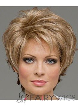 100% Human Hair Blonde Capless Wavy Short Wigs 8 Inch
