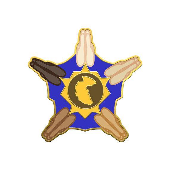 Pangean Prayer Hands Emoji Pin  Show your Pangean pride with this prayer hand sheriff star lapel pin.
