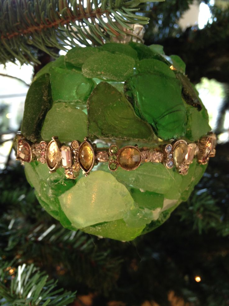 Green beach glass with vintage rhinestones made by Carol Norstebon Doremus