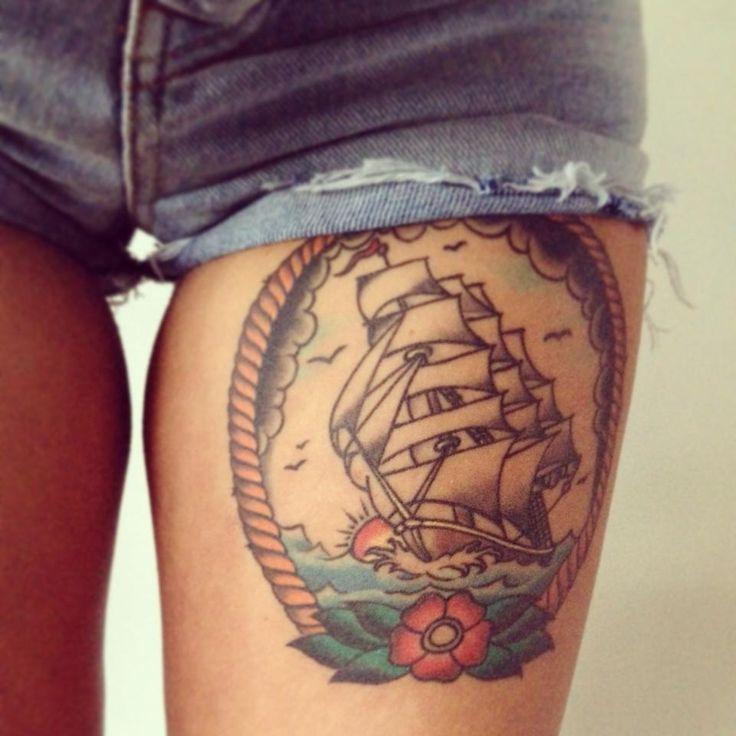 #tattoo #eastsidetattoonl #legtattoo #shiptattoo #oldschooltattoo