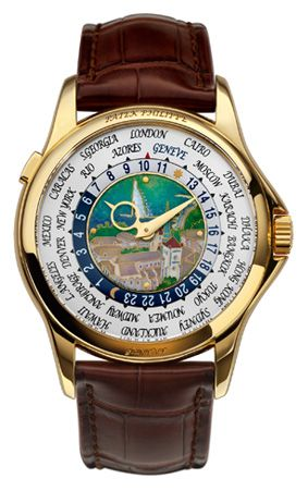 "This timepiece, called ""View of the City of Geneva"", features a dial center made to represent the Geneva Lakeview and a 24 hour time zone with the replacement of Paris with Geneva, seen in blue. This Patek Philippe 5131J auction raised 1 million Swiss Francs to a citizen of Geneva (go figure!)"