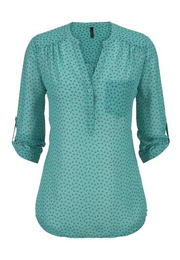 patterned v-neck one pocket chiffon blouse - maurices.com